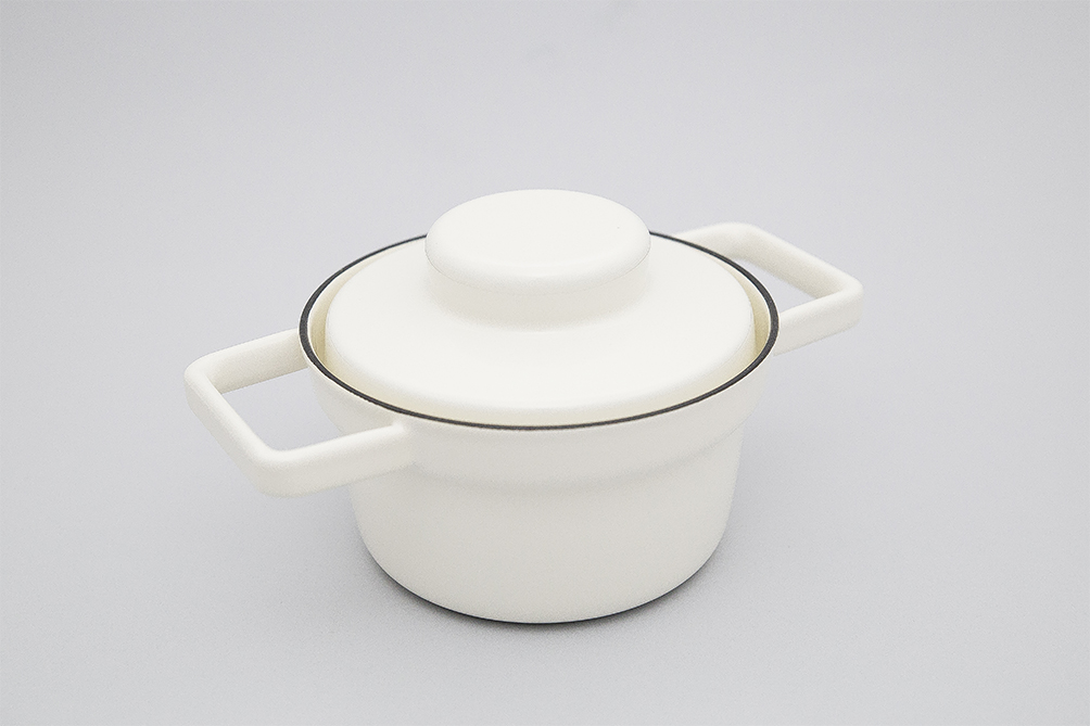 WHITE 0.75L ENAMEL AROMAPOT WITH LID