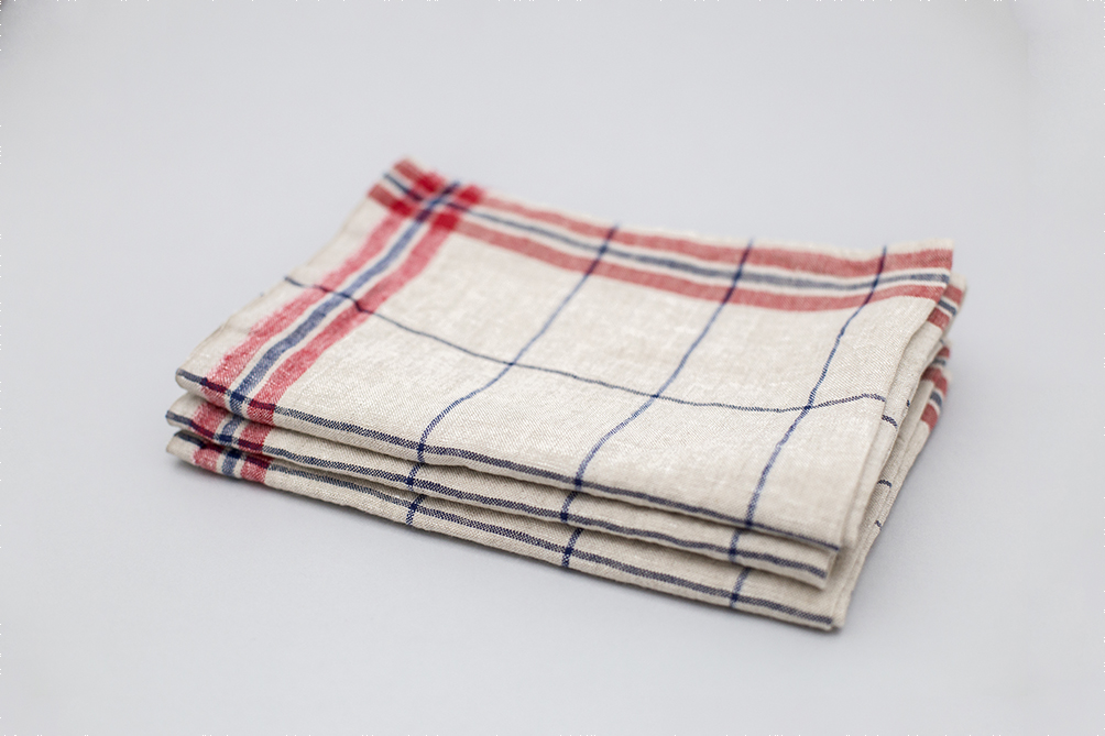BLUE PLAID LINEN KITCHEN CLOTH