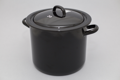 BLACK 4L ENAMEL POT WITH LID