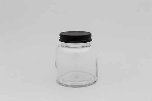 GLASS JAR WITH BLACK LID