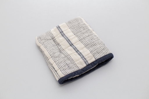 DARK BLUE STRIPED SQUARE LINEN OVEN MITT
